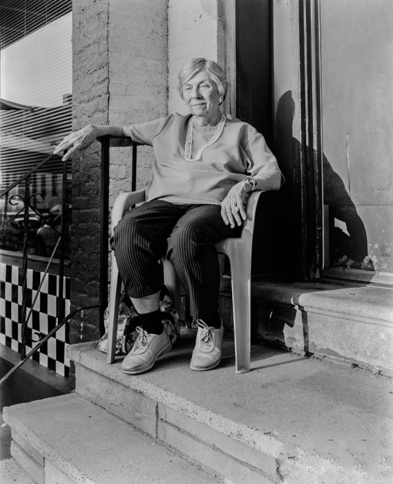 michael bach, My mother-in-law,Marge Young, sitting on the front steps,Troy,NY,August 2013,mbachphoto.wix.com-michael-bach-2