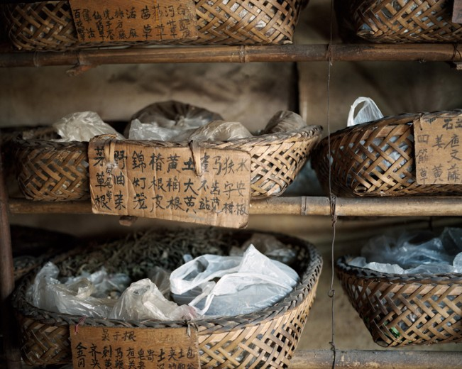 Baskets of traditional Chinese medicine. Chongqing, China. 2011