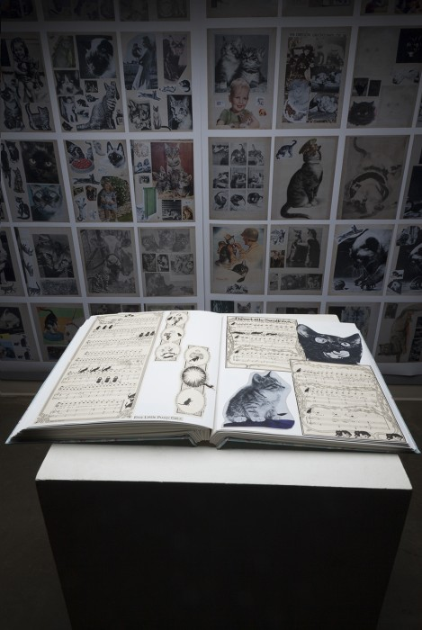 Tale of Two Obsessions Arline Conradt & the Cat Scrapbook mockup installation of contemporary scrapbook, 175 pages
