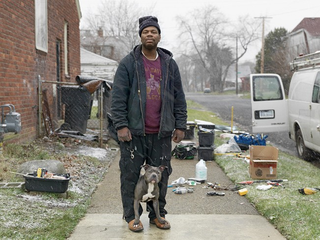 Calvin with His Pit Bull, Eastside, Detroit 2011