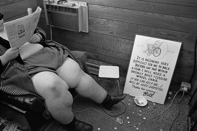 Heavy Man in Booth, Michigan  Stae Fairgrounds, Detroit 1972 2-23-3