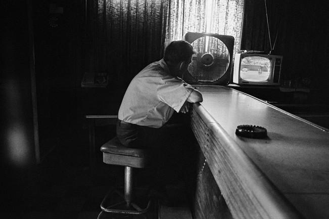 Man Watching TV in a Bar, Detroit 1972