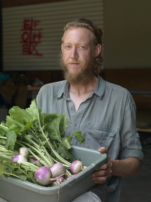 Shane with turnips, Goldengate St., Detroit 2013