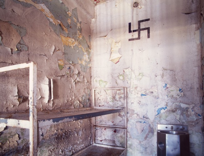 Saloutos_Lee_04-Death Row Cell, Housing Unit 3, Missouri State Penitentiary, #1 (Swastika)