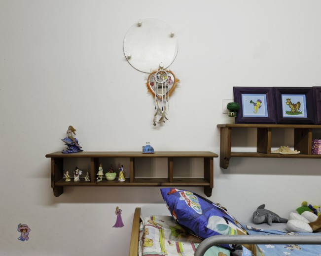 Children's bedroom inside a 'mamad' safe room, Kibbutz Kfar Aza.