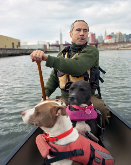 8-Jens, Millie, and Gertie, Canoeing Newtown Creek, 2013