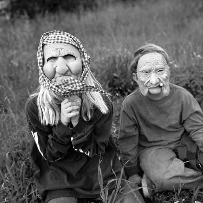 children, masks, old, aging