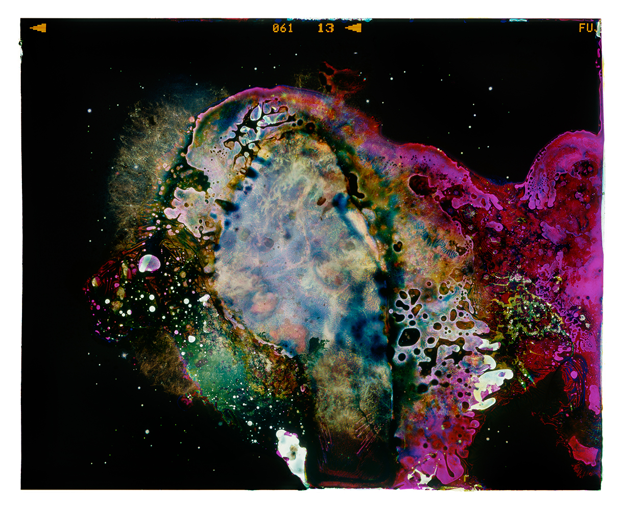 Archival Pigment Print of Bacteria Grown on Photographic Film