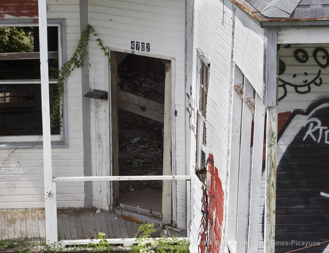 STAFF PHOTO BY TED JACKSON Front porch at St. Claude Ave. at Industrial Canal, photographed from bridge, 2014. Scenes of Katrina, 9 years later, photographed July and August 2014. (Photo by Ted Jackson, Nola.com | The Times-Picayune)