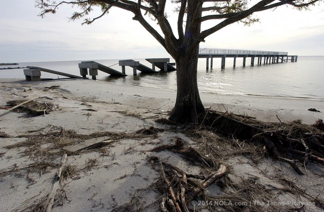 STAFF PHOTO BY SCOTT THRELKELD The concrete fishing pier is in ruin at Fontainebleau State Park in Mandeville, photographed Friday, December 9, 2005, heavily damaged by Hurricane Katrina.