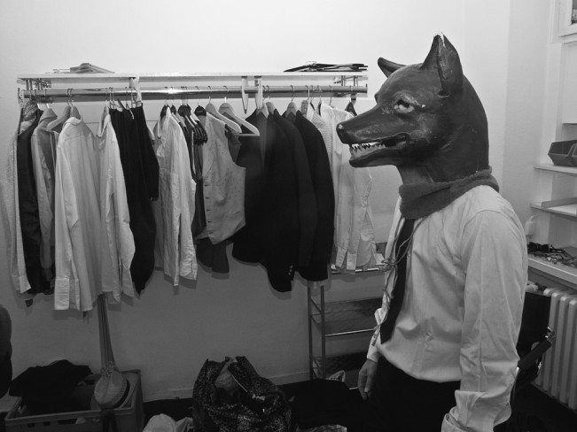 Man with wolf mask