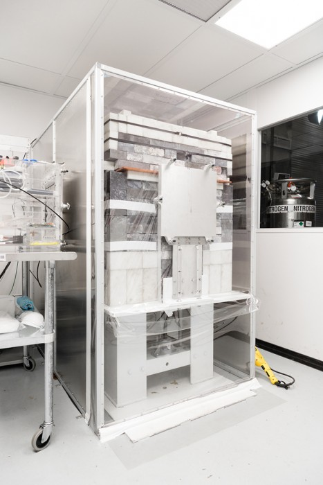 A special containment unit designed to measure trace amounts of radiation from samples.