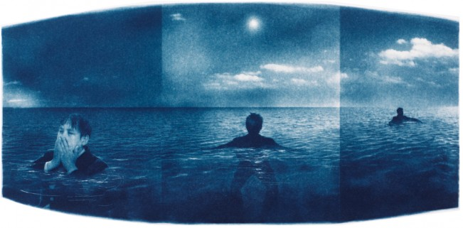 "Adrift, 2013. Collaged Cyanotype Print with Digital Drawing. 8.3"" x 17"". Limited edition of 12."
