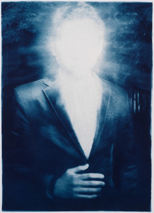 "Illuminated, 2013. Collaged Cyanotype Print with Digital Drawing. 17"" x 11.2"". Limited edition of 12."