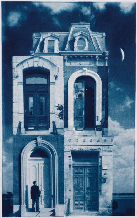 "This Old House, 2012. Collaged Cyanotype Print with Digital Drawing. 17"" x 10.7"". Limited edition of 12."