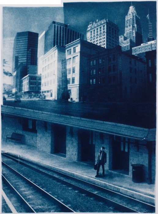 "The City, 2013. Collaged Cyanotype Print with Digital Drawing. 17"" x 12.3"". Limited edition of 12."