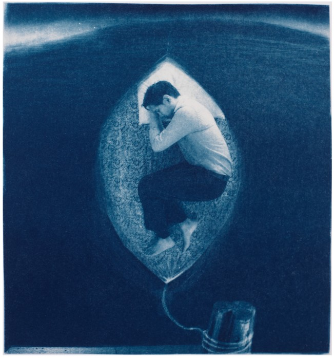 "Sleep, 2013. Collaged Cyanotype Print with Digital Drawing. 17"" x 16"". Limited edition of 12."