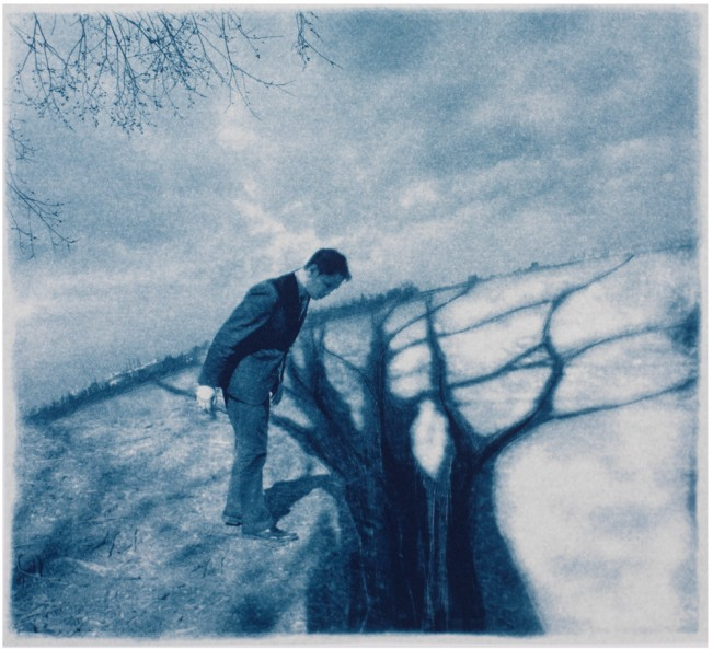 "River Crossing, 2013. Collaged Cyanotype Print with Digital Drawing. 15.7"" x 17"". Limited edition of 12."