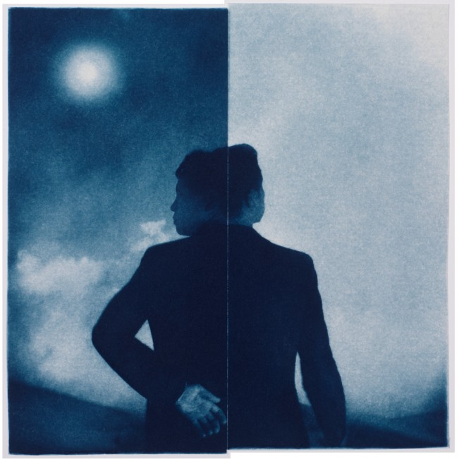 "Night & Day, 2012. Collaged Cyanotype Print. 17"" x 16.8"". Limited edition of 12."