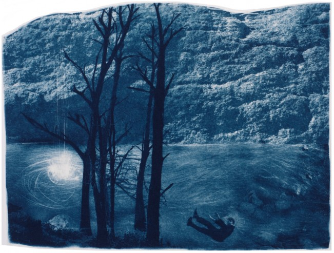 "The Fall, 2013. Collaged Cyanotype Print with Digital Drawing. 13"" x 17"". Limited edition of 12."