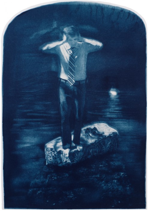 "John, Johna, Jonah, 2013. Collaged Cyanotype Print with Digital Drawing. 17"" x 11.8"". Limited edition of 12."