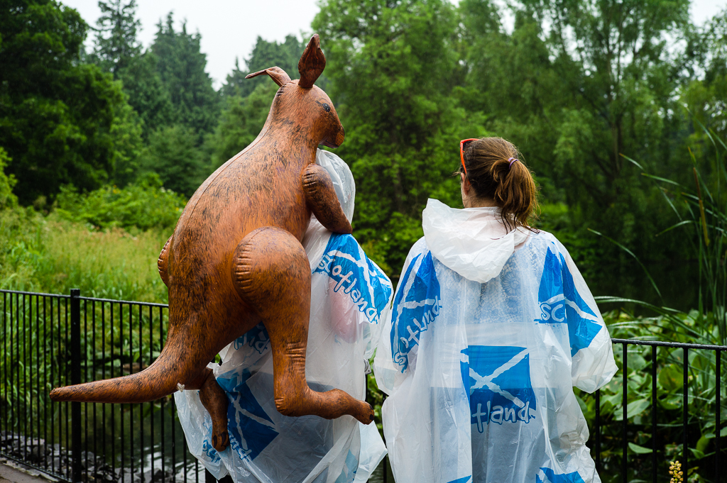 Ein Plastikkänguruh wird durch den Botanischen Garten in Edinburgh getragen