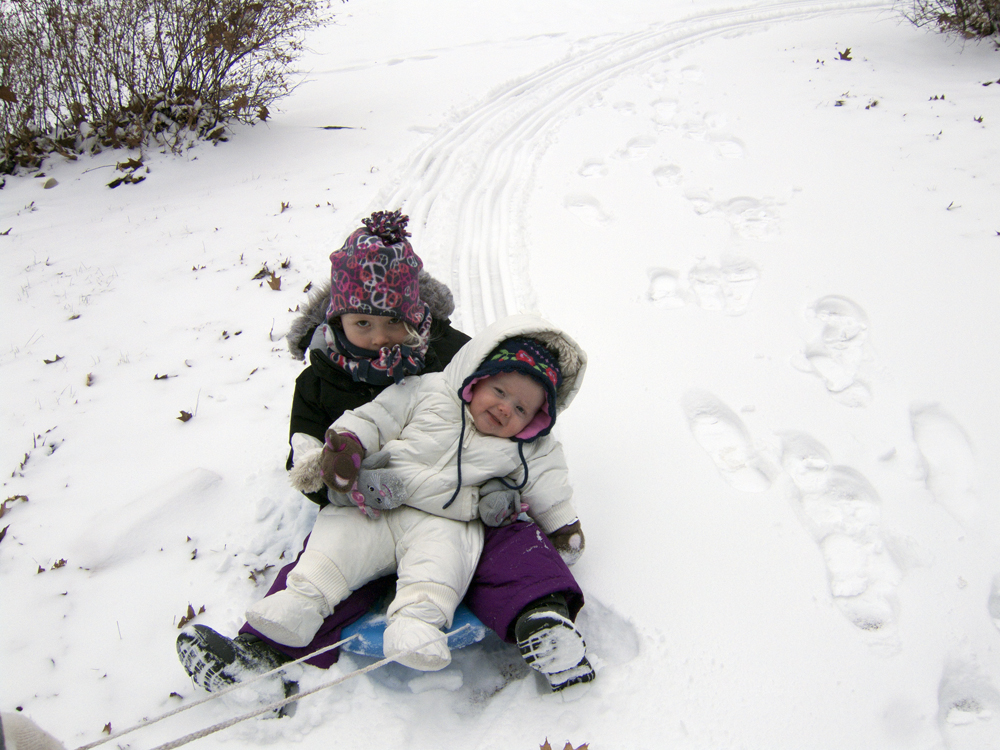 Norah and Ruby Sledding 2014