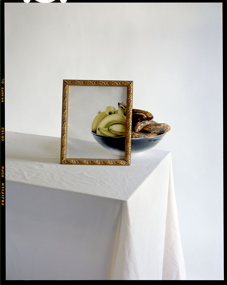 Bananas in Bowl with Painting on Table