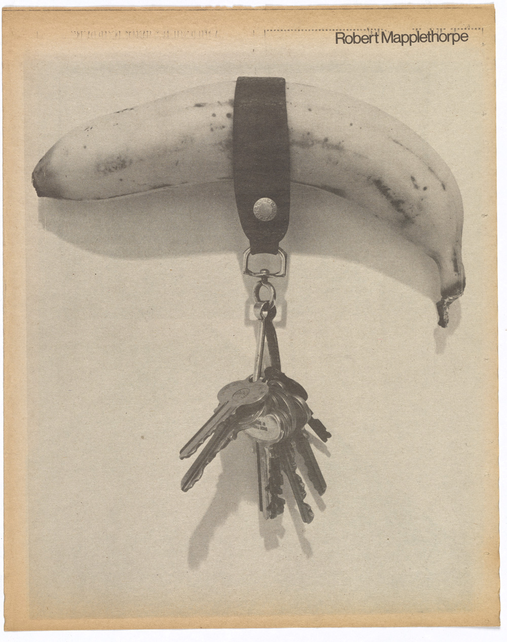 2.00a_Fig_22 Robert Mapplethorpe (American, 1946–89). Banana & Keys, 1974. From Interview 5, no. 11 (November 1975): n. p. Gift of The Robert Mapplethorpe Foundation.