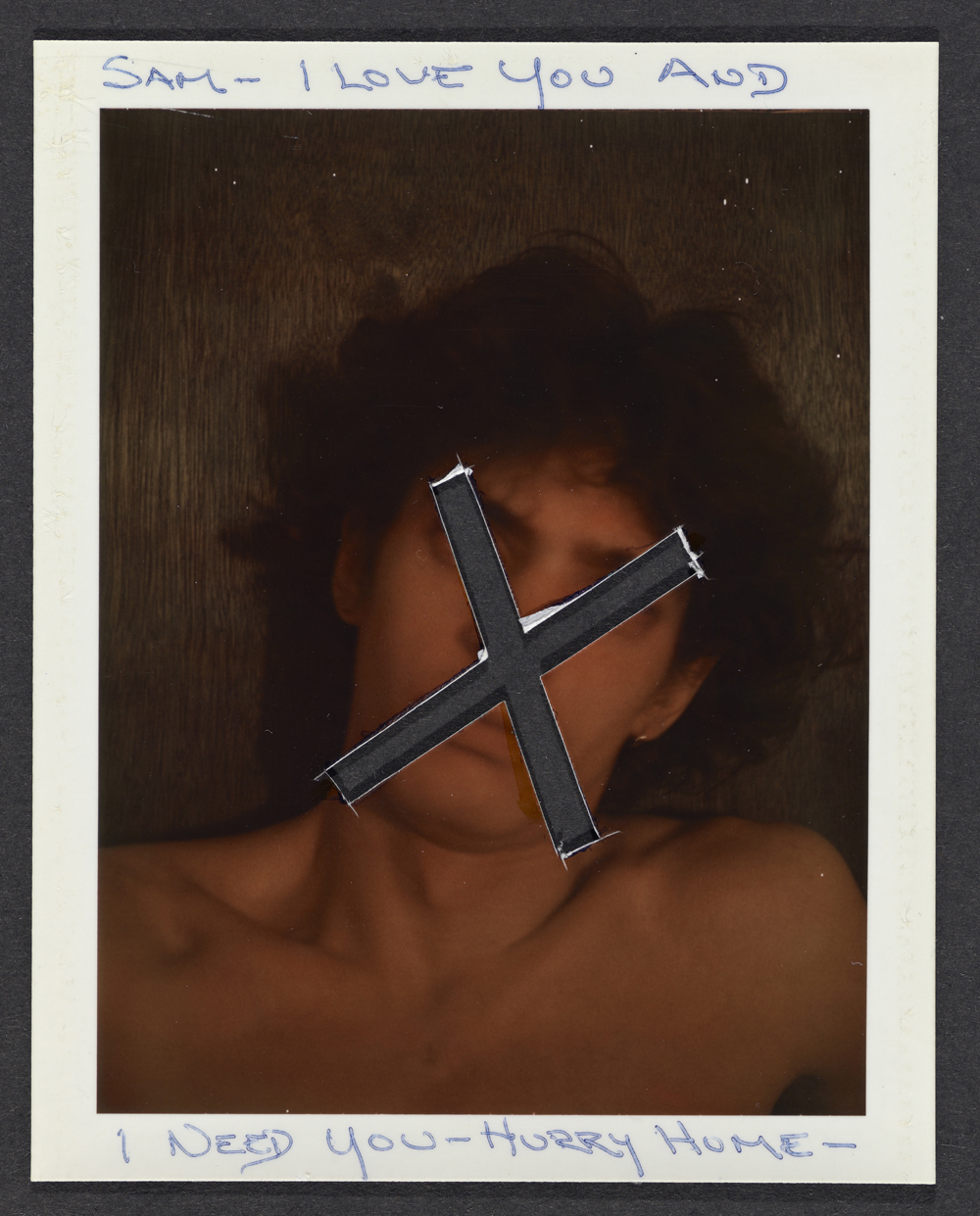 "13.03_Fig_27Robert Mapplethorpe (American, 1946–89). Untitled (""Sam—I love you and I need you—hurry home""), 1974, altered color Polaroid print. Gift of The Robert Mapplethorpe Foundation to the J. Paul Getty Trust and the Los Angeles County Museum of Art."