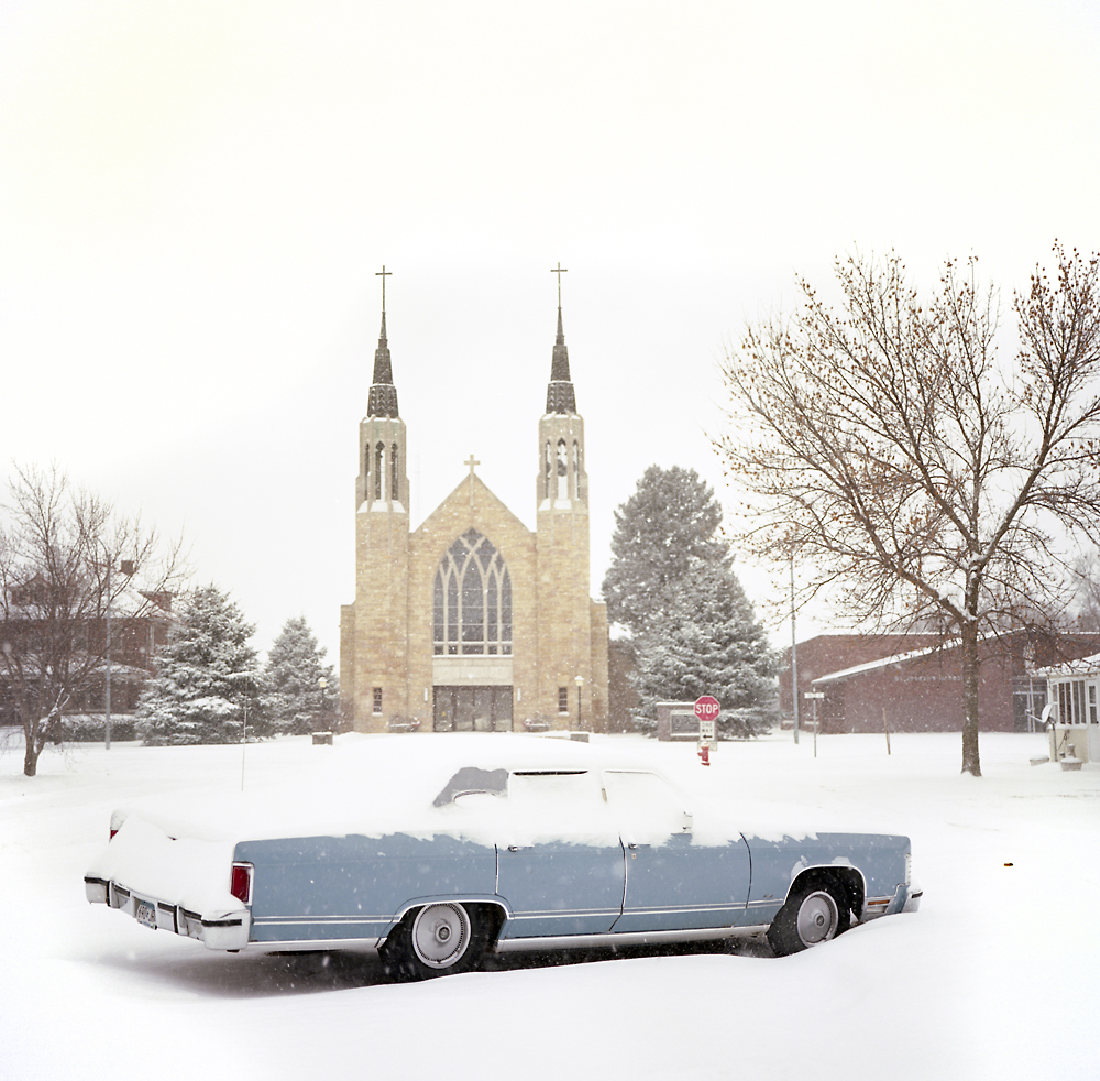 A car sits in an early winter snow in Neligh, Nebraska, less than six miles from the proposed Keystone XL pipeline.