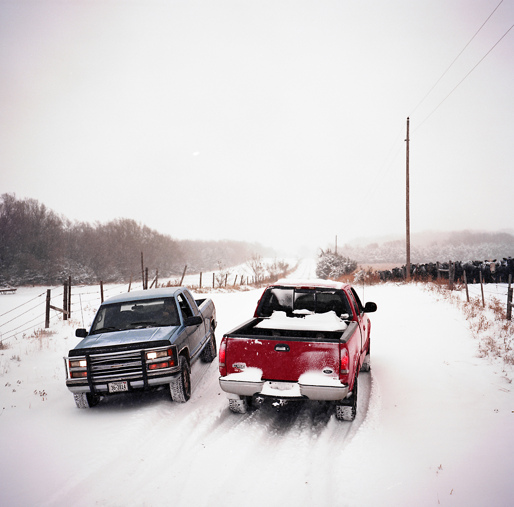 Members of the Kilmurry family stop and talk while moving cattle from one field to another during a snowstorm, Atkinson, Nebraska. The Kilmurry's have rejected TransCanada's attempts to get them to sign an easement to let the Keystone XL pipeline cross their property.