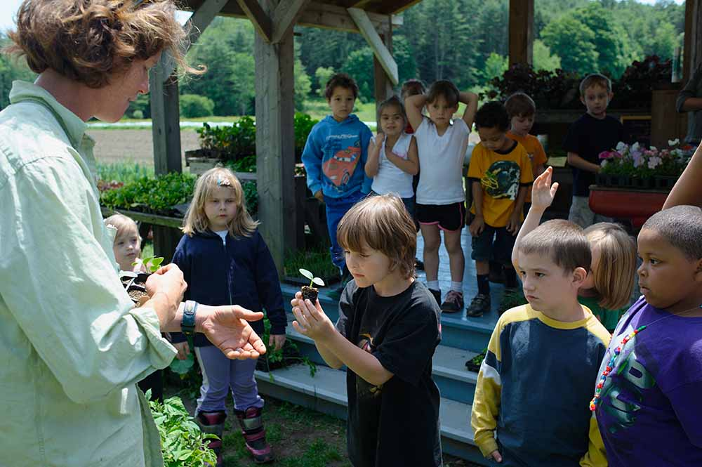 American farmer Amanda Ellis-Thurber is telling schoolchildren about cucumbers. Children from day care centers and elementary schools can start their own small garden at the farm and learn about vegetables, flowers, sowing, growing, blooming, weeding, and harvesting. Lilac Ridge Farm, June 2009