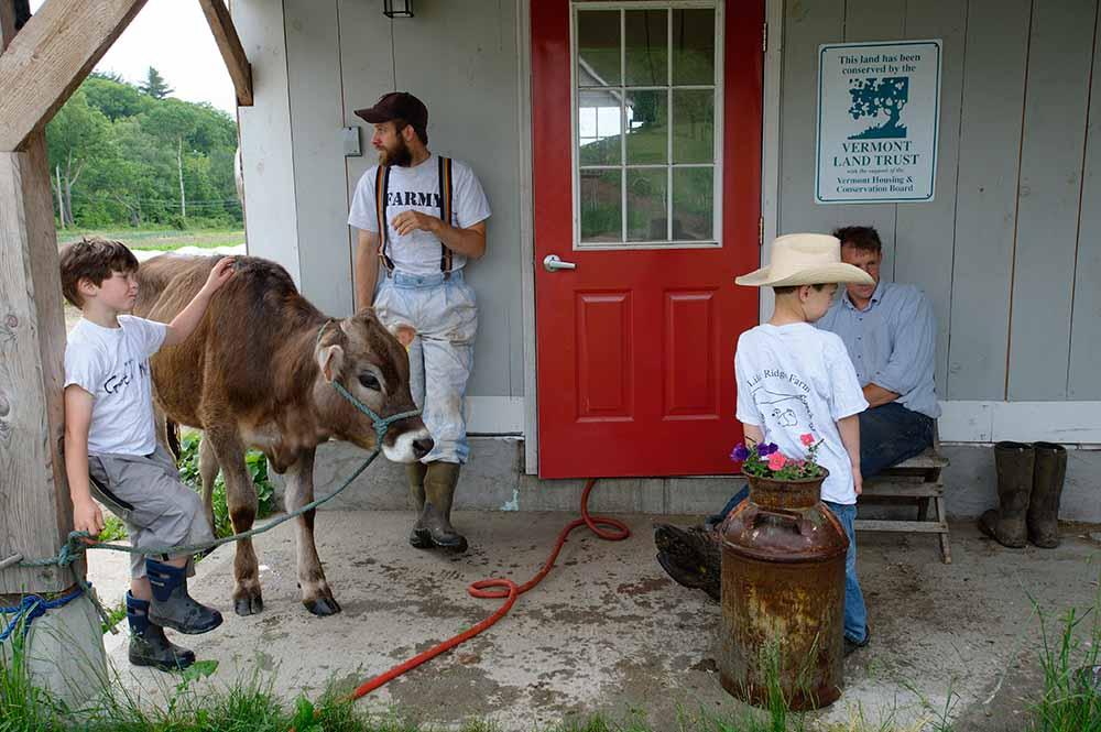 Henry (left), seasonal worker Greg Meyers, Ross, and his nephew Calvin, are waiting in front of the milking barn for other family members to bring two more cows. The Thurber children will walk them in the yearly Strolling of the Heifers parade in downtown Brattleboro, a celebration of Vermont's farmers and agriculture. A heifer is a young cow that hasn't calved yet. Lilac Ridge Farm, May 2009, from the book The Other Farm