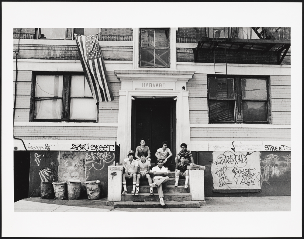 Fourth of July, hanging out on the stoop of their apartment hous