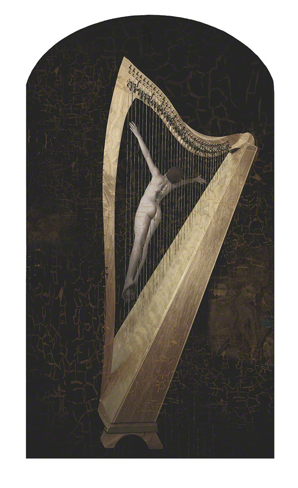 "This image is based on a scene from the Hell panel in the ""Garden of Earthly Delights."" Specifically, this person is strung up in a harp as punishment for playing lascivious, sinful music."
