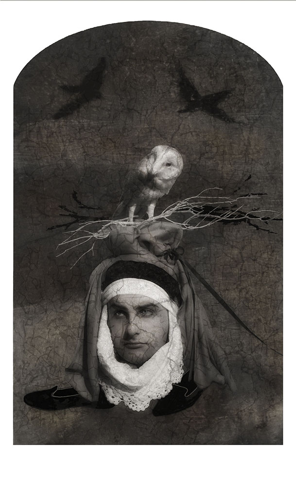 "Hieronymus Bosch's ""The Hermit Saints"" triptych was the inspiration for this image. According to traditional Dutch proverbs and Dutch Golden Age painters, an owl sitting atop someone's head identified that person as foolish."