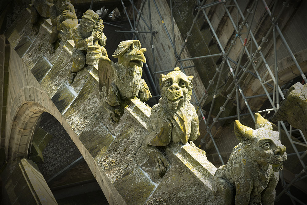 Gargoyles atop St. John's Cathedral in Bosch's hometown.
