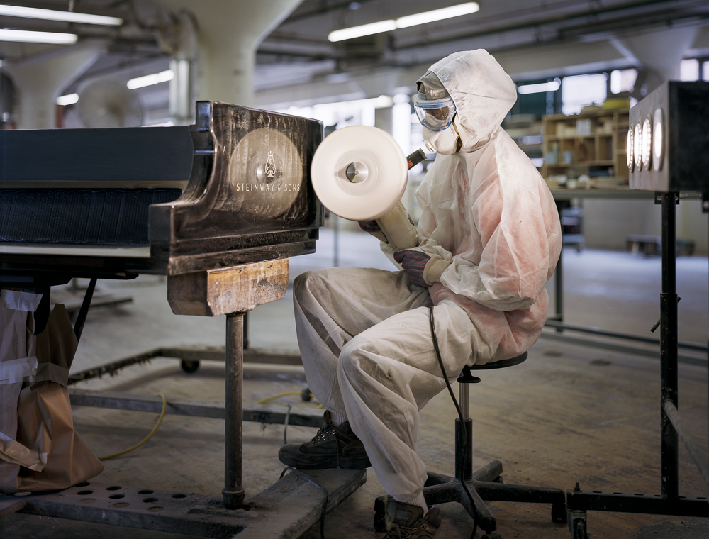 Lionel Greenaway, polyester polishing (Steinway & Sons piano factory, Astoria, NY)
