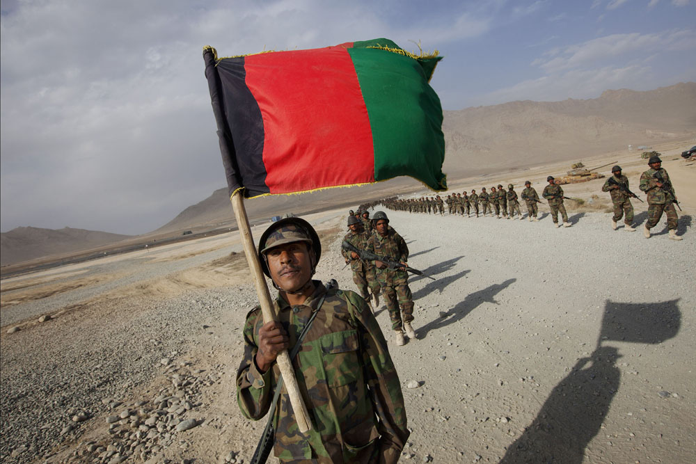 Kabul, October 4, 2010. An Afghan National Army (ANA) battalion marches back to barracks at the Kabul Military Training Center.