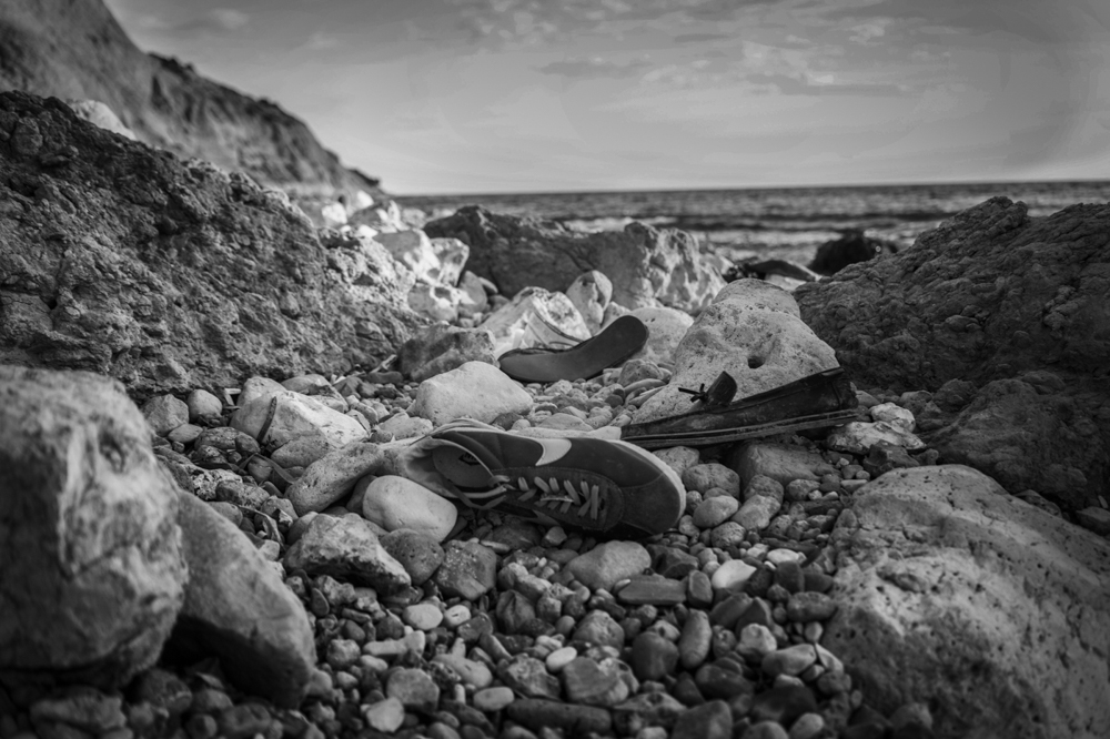 Traces left by refugees on a beach in Çesme, less than 10 miles from the Greek island of Chios. Çesme, Turkey. September 24, 2015.