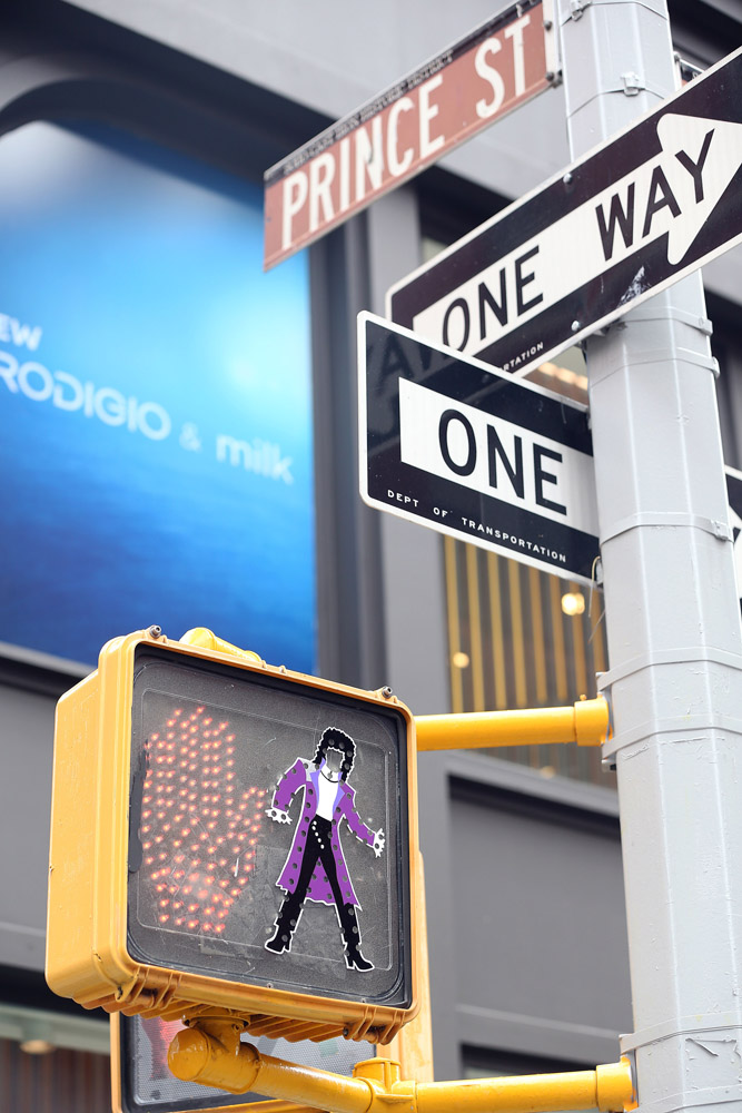 Homage to Prince who died last week. A traffic light with a Prince illustration on the traffic light at Prince Street in Soho. photo by Lawrence Schwartzwald