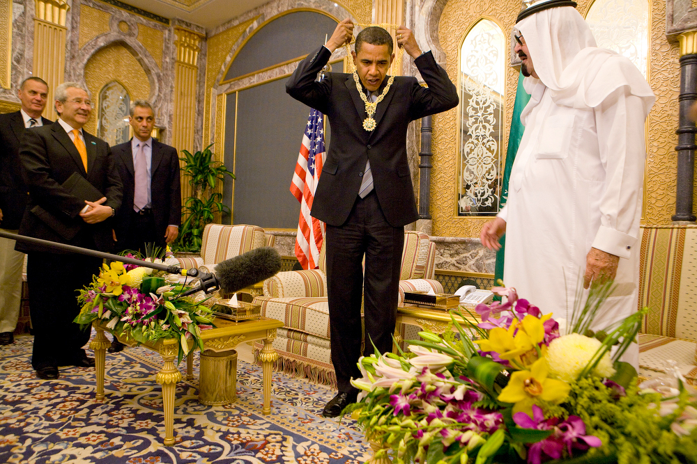 Published 06-04-2009: President Obama accepted a medallion known as the King Abdul Aziz Collar from King Abdullah of Saudi Arabia on Wednesday.