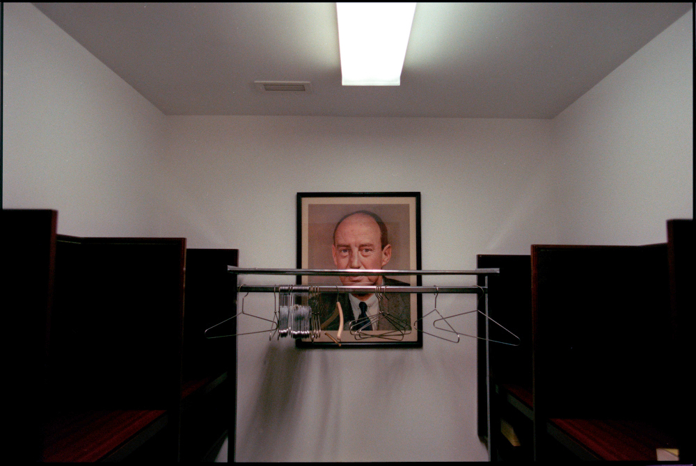 While the portraits of former presidents are proudly displayed around the Democratic National Committee Club in Washington, D.C., former Democratic Presidential Candidate Adlai Stevenson hangs forgotten in a cloakroom.