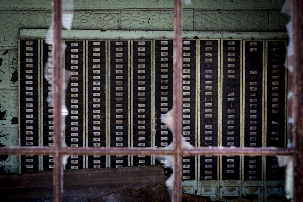Time card file in the abandoned Fort Pitt Steel Casting plant in McKeesport, Pa. By early 1984, operations at McKeesport Steel Castings had all but ceased. McKeesport has a population of about 20,000 now down from over 55,000 in 1940, with the decrease due to the decline of the steel industry. The major employer was the National Tube Works, a manufacturer of iron pipes, which once employed 10,000 men. National Tube closed in the 1980s, following the other U.S. Steel plants in the Monongahela River Valley.