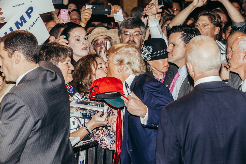 Republican Presidential candidate Donald Trump greets supporters during a rally at the South Point Hotel, Casino, and Spa in Las Vegas on Thursday, January 21, 2016.