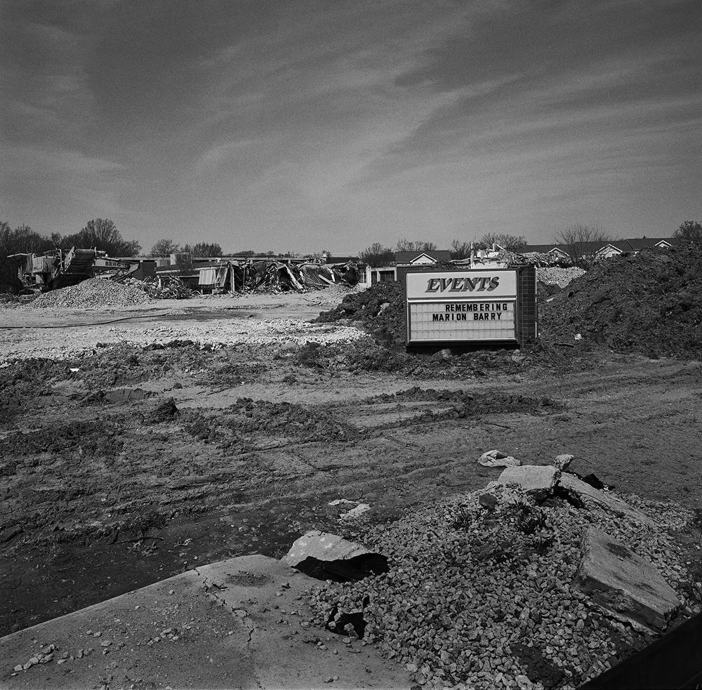 """Remembering Marion Barry"", Frank W. Ballou High School during demolition in the Congress Heights neighbourhood, Washington DC, USA. (Credit Image: © Louie Palu/ZUMA Press)"