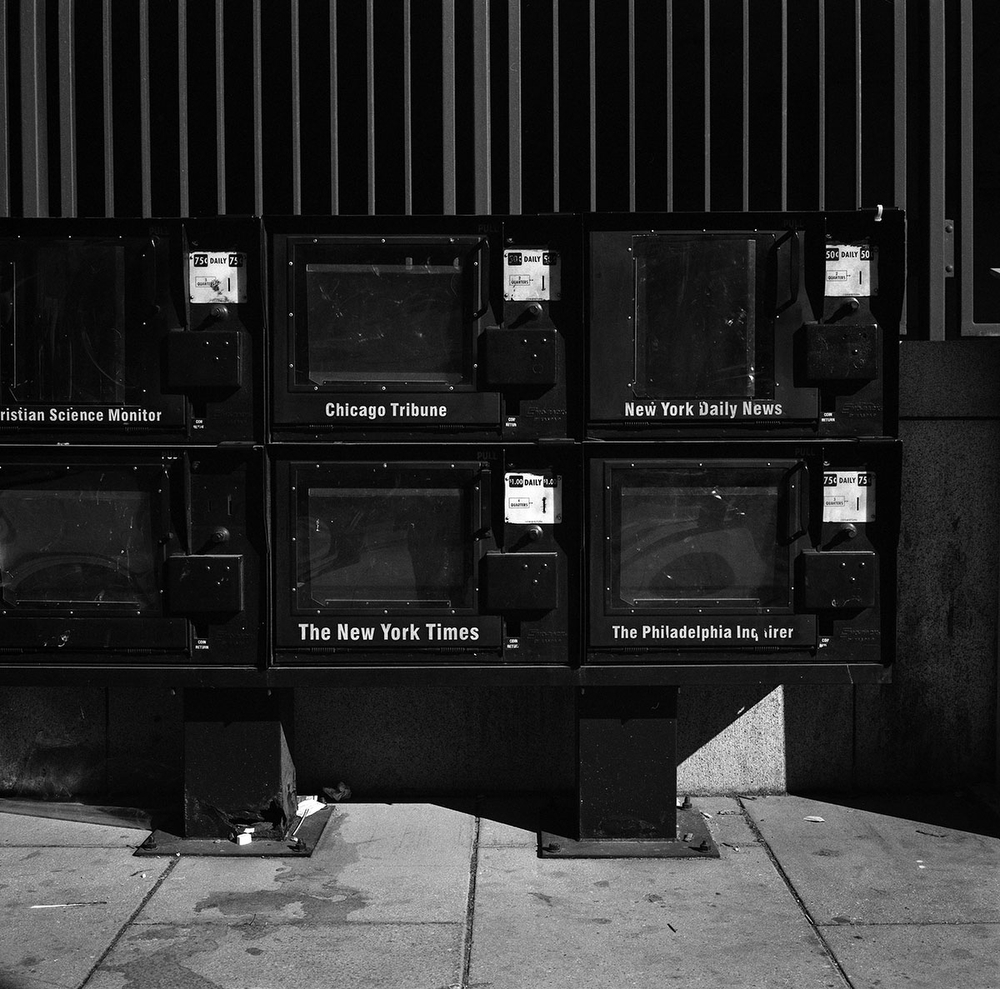 Empty newspaper boxes no longer in use before they were removed at the corner of Connecticut Avenue NW and K Street NW in Washington, DC, USA. (Credit Image: © Louie Palu/ZUMA Press)