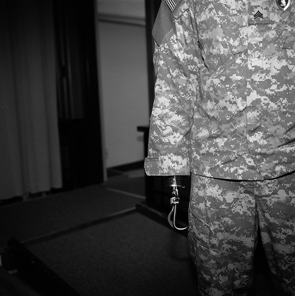 A US Army veteran who served in the Iraq War at a ceremony at Walter Reed Army Medical Center surrounded by the Shepard Park, Brightwood and Takoma neighbourhoods, Washington DC, USA. (Credit Image: © Louie Palu/ZUMA Press)
