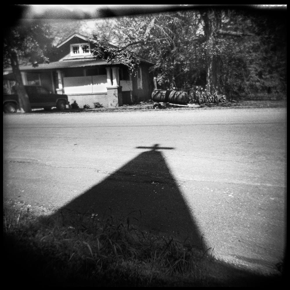 Shadow of church steeple.